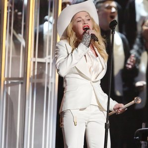 Madonna performing on stage during the Grammy