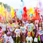Charity runners covered in paint