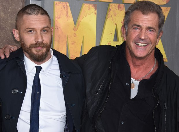 Tom Hardy and Mel Gibson at the premiere of Mad Ma